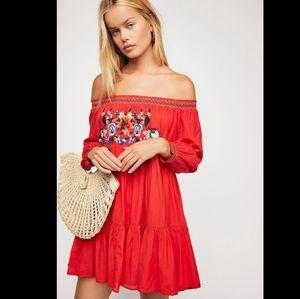 Free people sunbeams mini embroidered dress